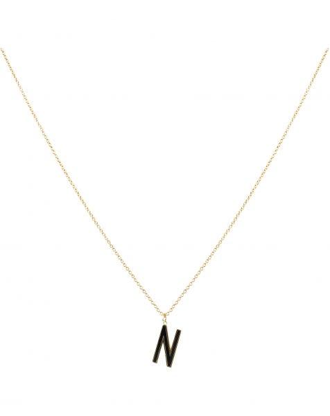 N NECKLACE BLACK GOLD