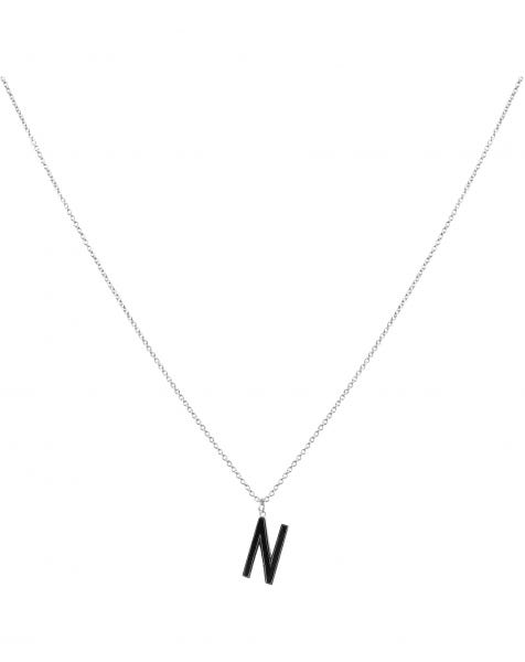 N NECKLACE BLACK SILVER