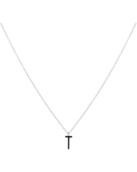 T NECKLACE BLACK SILVER
