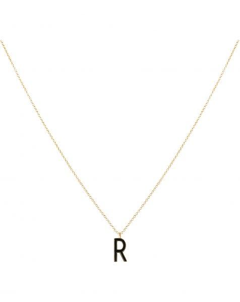 R NECKLACE BLACK GOLD