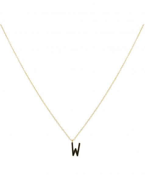 W NECKLACE BLACK GOLD